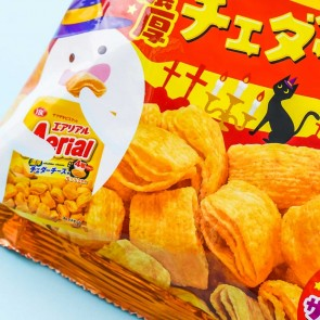 Aerial Halloween Corn Snacks -  Thick Cheddar Cheese